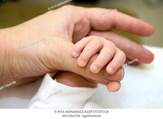 Close-up of Mommy and newborn hands
