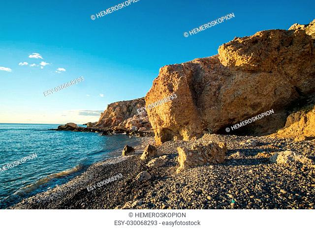 Las Negras beach in the heart of Cabo de Gata Natural Park, Andalusia, Spain