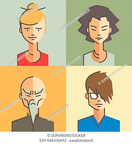 Male and female character faces avatars. Flat style with thin line icons. Vector. Set. 12