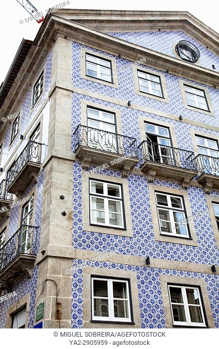 Building with Blue Tiles in Ribeira area of Porto in Portugal