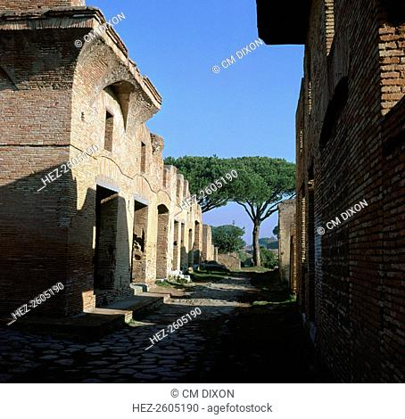The House of Diana in the port of Ostia, made up of apartments with shops on the ground floor, 2nd century