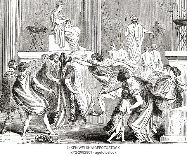 The murder of King Philip in 336 BC at Aegae, Greece by Pausanias of Orestis, one of his seven bodyguards. Philip II of Macedon