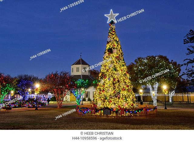 USA, United States, America, Texas, Hill Country, Fredericksburg, town square, tree, Christmas, lights, star