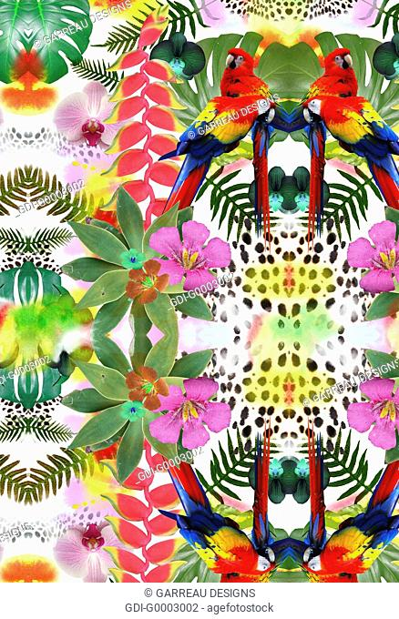 Tropical themed design with parrots