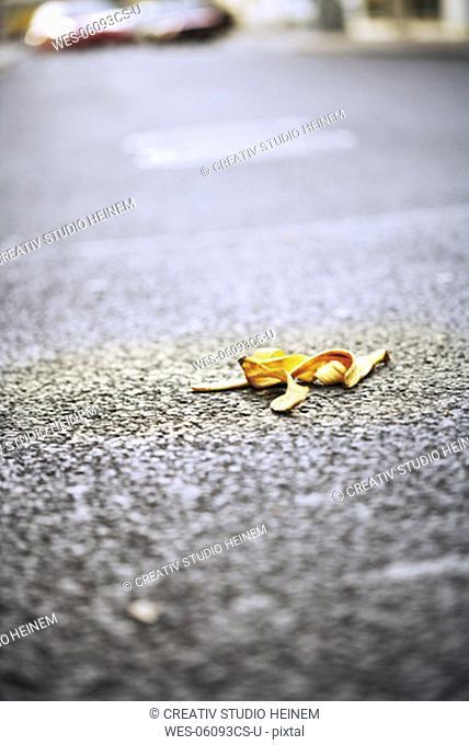 Banana peel lying on street