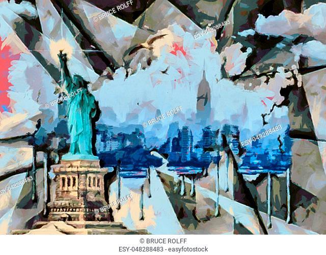 Liberty island. Modern oil painting