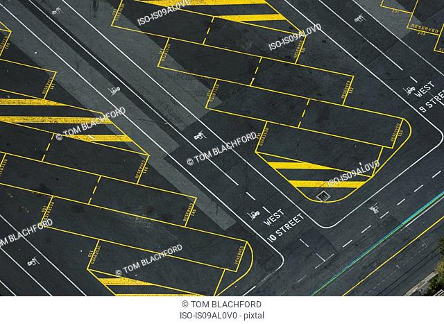 Aerial view of empty truck parking lot, Port Melbourne, Melbourne, Victoria, Australia
