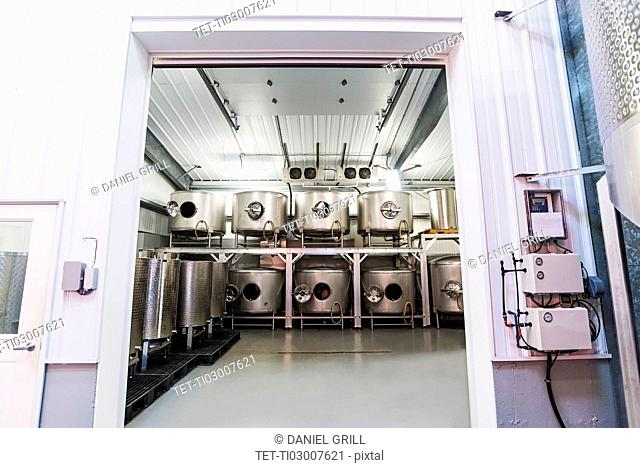 Winery equipment in warehouse