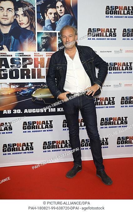 "21 August 2018, Germany, Berlin: Director Leander Haußmann comes to the Kulturbrauerei for the premiere of the movie """"Asphalt Gorillas"""""
