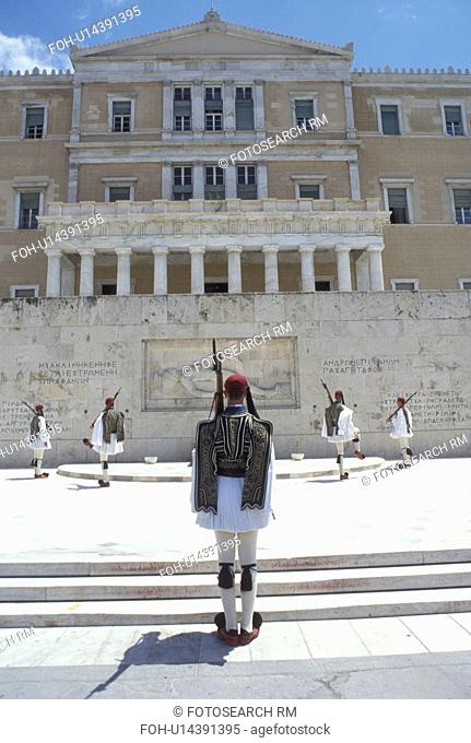 Parliament, Athens, Greece, Europe, Changing of the Guards (evzones) ceremony at the House of the Greek Parliament at Plateia Syntagmatos (Constitution Square)...