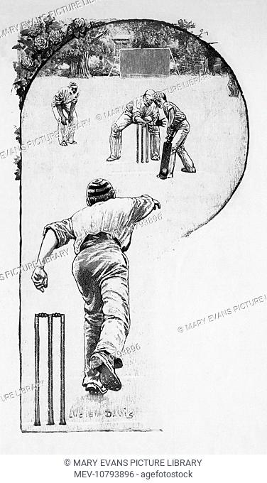 A bowler attacking the batsman with some crafty bowling
