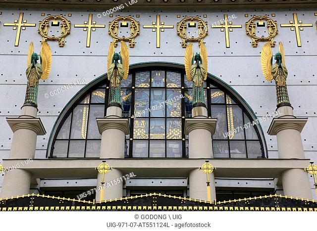 Statues of angels designed by Othmar Schimkowitz. In the window, a work of Kolo Moser called 'the Fall.' Steinhof Church built by Otto Wagner between 1902 and...