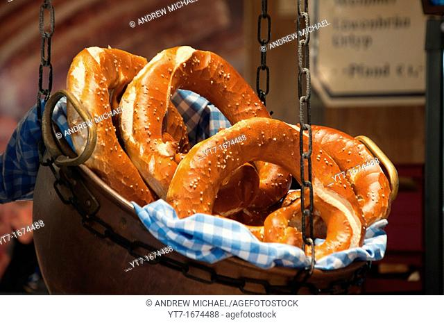 Fresh Bavarian Pretzels on sales in Munich, Germany
