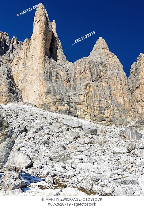 The iconic Drei Zinnen - Tre Cime di Lavaredo in South Tyrol – Alto Adige in the Dolomites, a unesco world heritage site