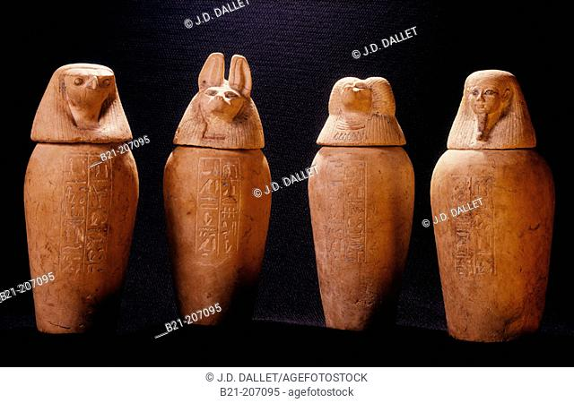 Canopic jars from the tomb of Psusennes at Tanis. Egyptian Museum. Egypt