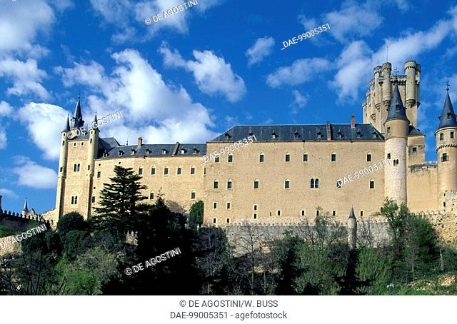 Lateral view of the Alcazar of Segovia (UNESCO World Heritage List, 1985), Castile and Leon. Spain, 11th-19th century