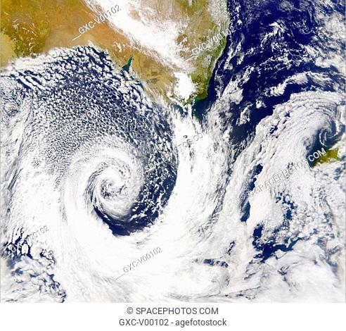 There was a large low-pressure system off Australia's southern coast on February 20, 2002. True-color image