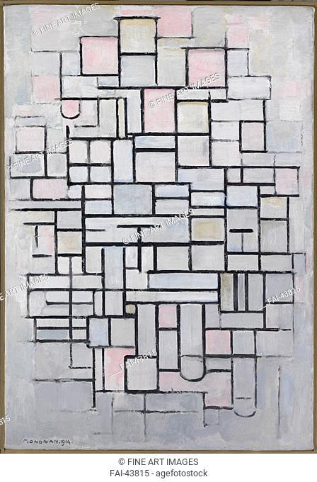 Composition No. IV by Mondrian, Piet (1872-1944)/Oil on canvas/De Stijl/1914/Holland/Gemeentemuseum Den Haag/88x61/Abstract Art/Painting/Komposition Nr