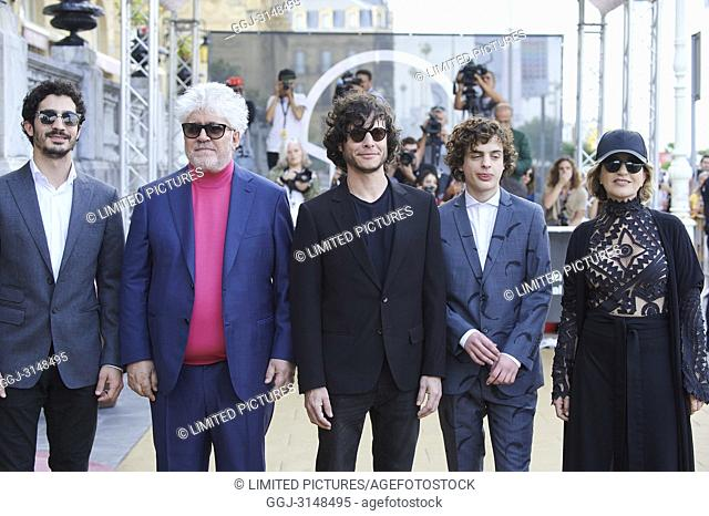 Chino Darin, Pedro Almodovar, Mercedes Moran is seen arriving at Maria Cristina Hotel during 66th San Sebastian Film Festival on September 28