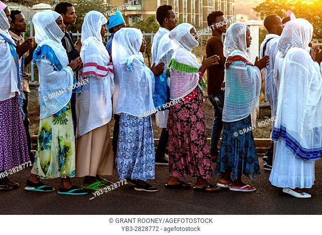 Young Ethiopian Christians Taking Part In A Christmas Procession, Arba Minch, Ethiopia