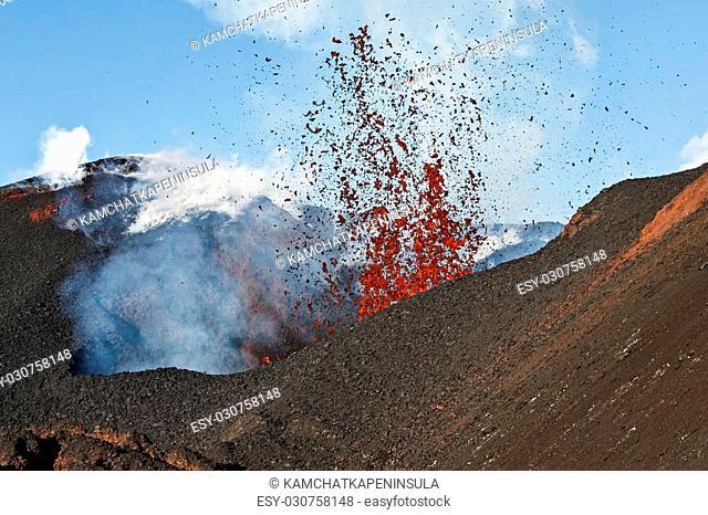 Beautiful volcanic landscape of Kamchatka: eruption active Tolbachik Volcano. Russia, Far East, Kamchatka Peninsula