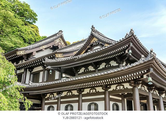 Kannon-do Hall of the Hase-dera temple, commonly called the Hase-kannon, one of the Buddhist temples in Kamakura, Kanagawa Prefecture, Japan