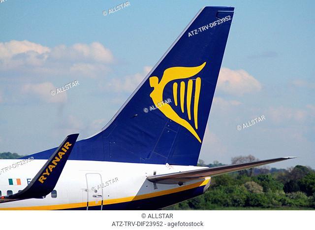 RYAN AIR BOEING 737-8AS AIRCRAFT TAIL FIN; MANCHESTER AIRPORT, ENGLAND; 14/05/2014