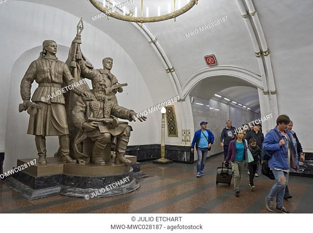 Statue to World War II heroes at a Metro station in Moscow,Russia
