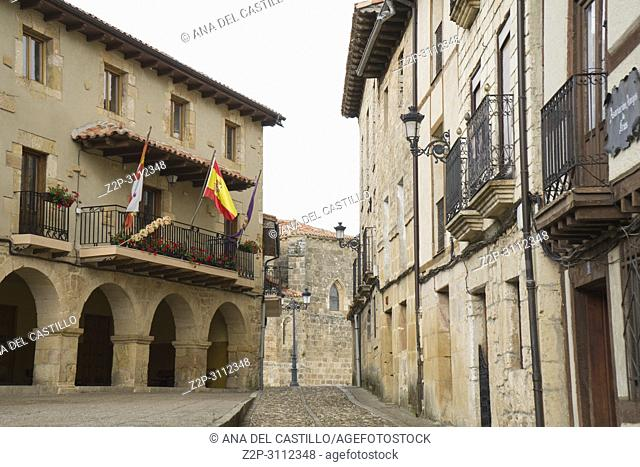 Frias medieval town of Burgos province, one of the most beautiful villages in Spain. The city hall building