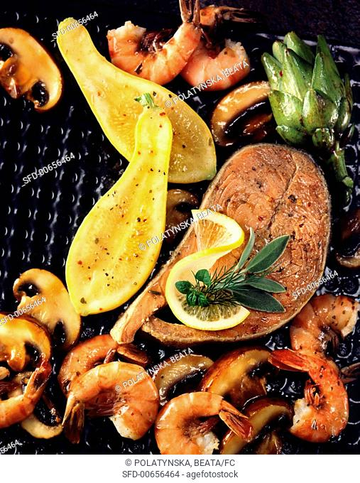 Barbecue Seafood and Squash