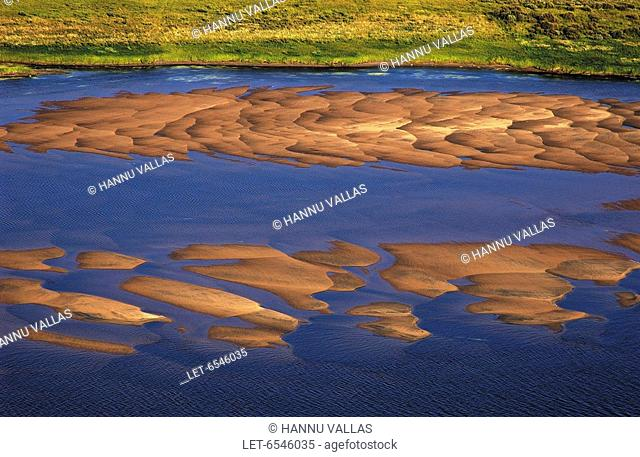 An aerial photo of sandbars of the Tornionjoki river in Ylitornio, Finnish Lapland  Finland