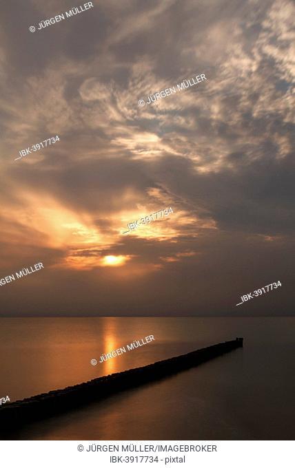Sunset, Baltic Sea, Wustrow, Mecklenburg-Western Pomerania, Germany