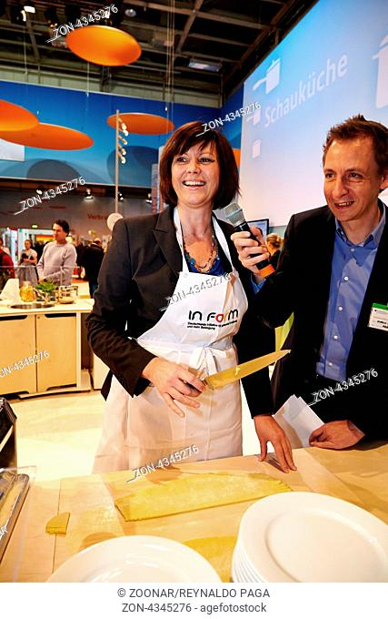 Federal Minister Ilse Aigner has participated in a joint-action cooking with chef Alexander Dressel and Isabell Hertel at Green Week in Berlin Exhibition...