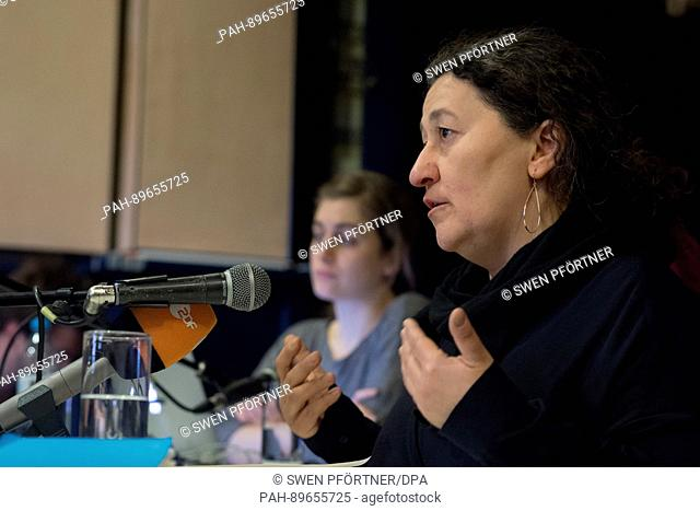 Ayse Gülec (r) of the initiative '6. April' speaks next to Christina Varvia of the research groupo Forensic Architecture at the University of London during a...