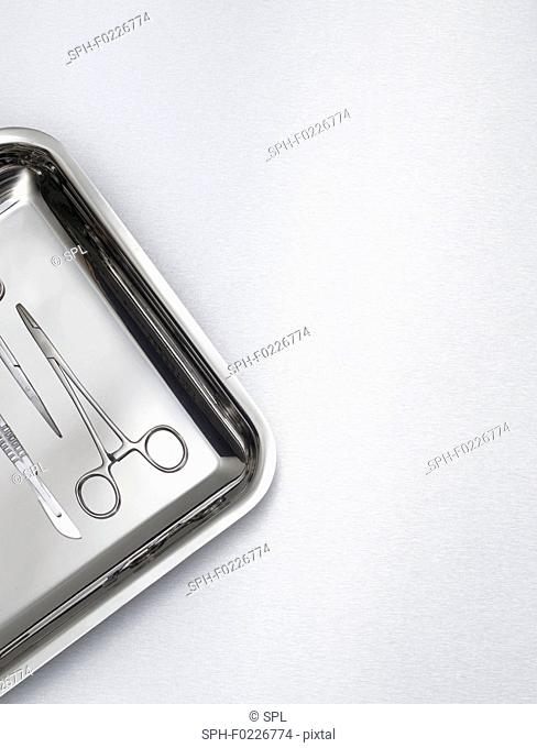 Surgical scissors on a tray