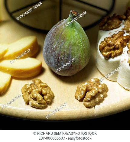 cheese still life with fig