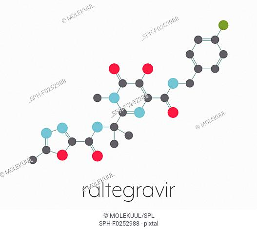 Raltegravir HIV drug (integrase inhibitor class) molecule. Stylized skeletal formula (chemical structure). Atoms are shown as color-coded circles connected by...