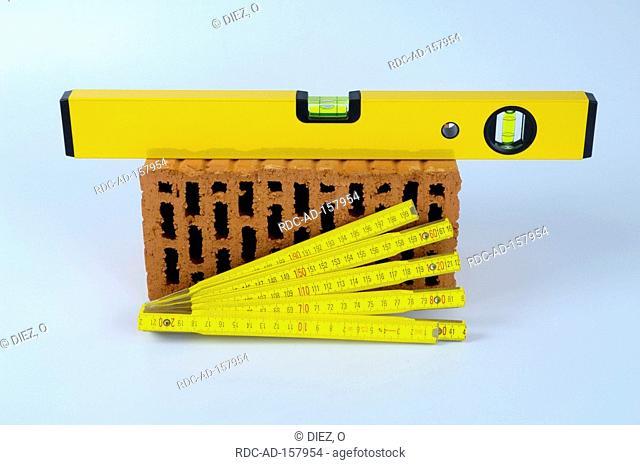 Brick yardstick and spirit level folding rule folding ruler cut out object