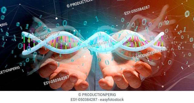 View of a Businessman holding a 3d rendering data coded Dna with binary file around