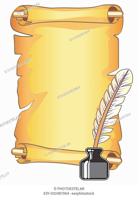 Illustration of a old-style feather pen and ink bottle with a parchment scroll. Suitable as a background for an invitation or antique document with calligraphy