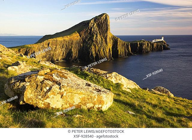Neist Point and Lighthouse just before Sunset Isle of Skye Scotland