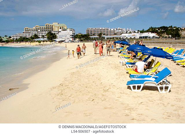 The cruise ship Carnival Fantasy visits the island of St. Maarten (St Martin) in the caribbean West Indies