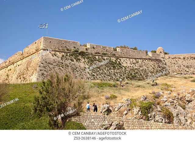 Tourists in front of the Venetian fortress-Fortezza in Rethymno town, Crete, Greek Islands, Greece, Europe