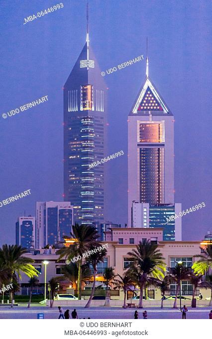 Arabia, Arabian peninsula, the Persian Gulf, United Arab Emirates (VAE), Dubai, Jumeirah Beach, skyline