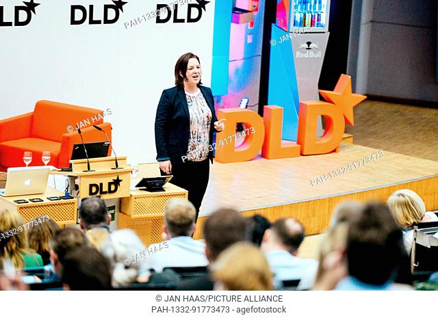 BAYREUTH/GERMANY - JUNE 21: Constanze Buchheim (iPotentials) smiles while speaking on the stage during the DLD Campus event at the University of Bayreuth on...