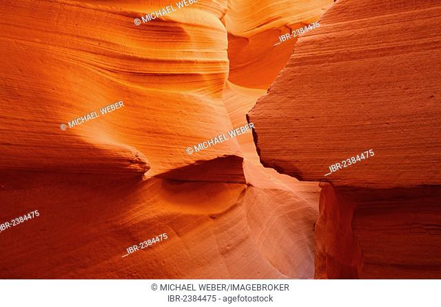 Red sandstone of the Moenkopi Formation, rock formations, colours and structures at Lower Antelope Slot Canyon, Corkscrew Canyon, Page