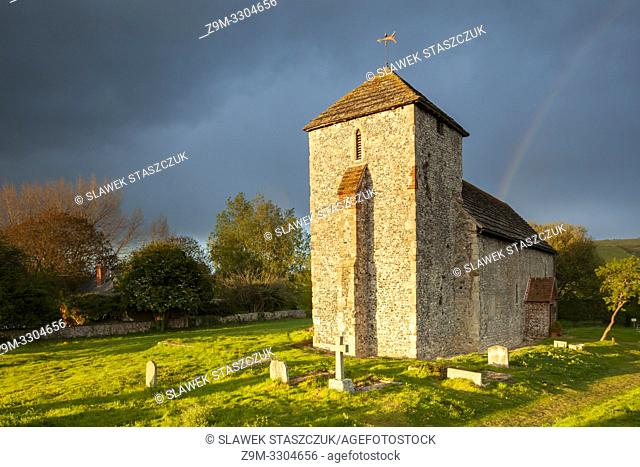 Spring evening at the Saxon church of St Botolph near Steyning, West Sussex, England