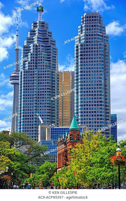 Downtown Toronto showing Gooderham Building, and modern office buildings of the Financial District, Toronto, Ontario, Canada