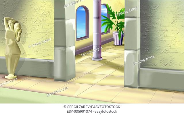 Digital Painting, Illustration of a Ancient Greece Palace Interior in Realistic Cartoon Style