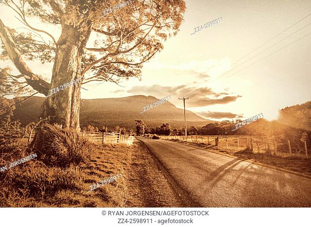 Old style photo with texture of an ornate sunset landscape in rustic sepia tones. Liffey, Tasmania, Australia